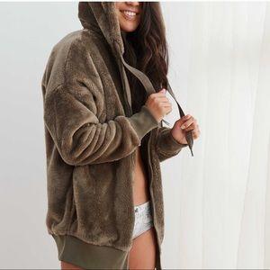 aerie fuzzy sherpa oversized hoodie